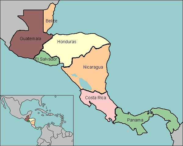 map of Central America with countries labeled learn something new every day