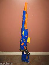 NERF SNIPER RIFLE LONGSTRIKE CS-6 BLUE DART GUN  CLIP w/ Front Barrel WORKS!!!