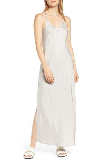 48106351a27 Lou   Grey Shiny Twill Maxi Slipdress