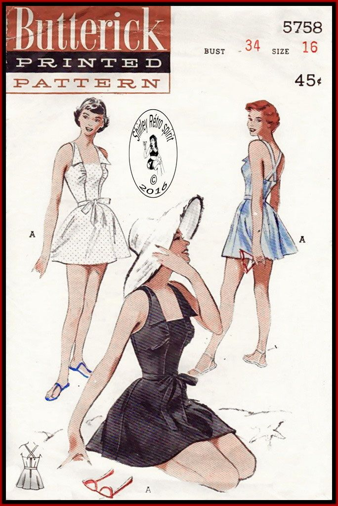 Butterick 5758 - 1951 ca. 1951 The kind of swimsuit that looks equally wonderful in and out of water. Vintage Sewing Patterns Butterick 1950s 1951 Swimsuits Bathing Suits Square Neckline Pointed Collar Skirted Swimsuits