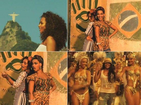 Mirella Santos e Beyonce 550x412 Video Clipe de Alicia Keys e Beyoncé   Blue com Mirella Santos