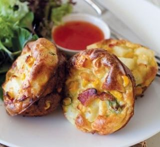 Mini frittata with bacon and corn