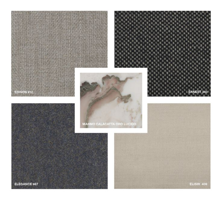 Marble: Calacatta Oro glossy Fabrics: Edison 912, Ernest 340, Elisir 409, Elegance 987