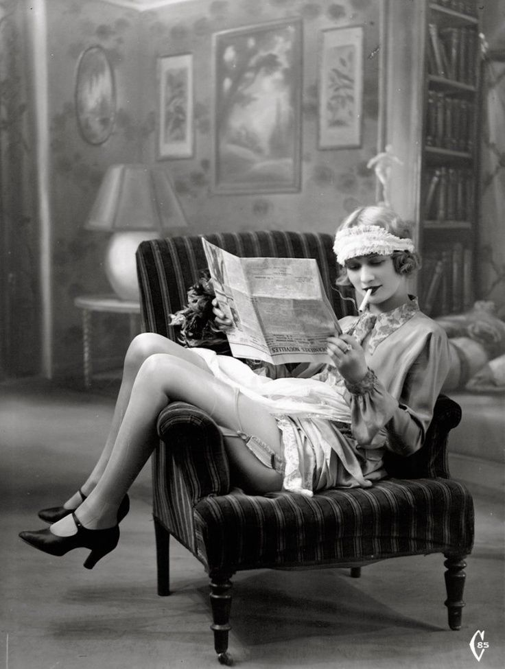 Smoking flapper in the 1920s