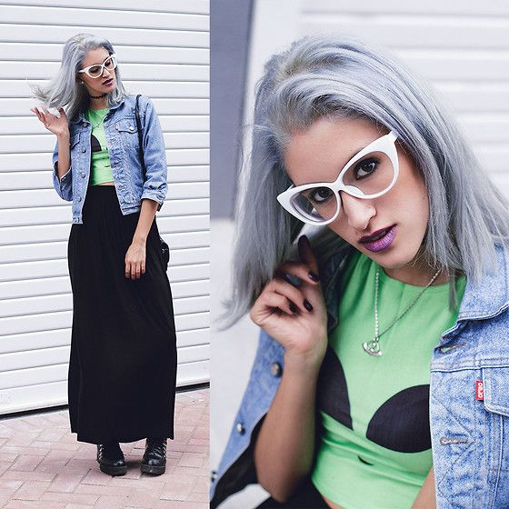 More looks by Andrea Chavez: http://lb.nu/delilacblog  #artistic #edgy #vintage #lilac #whitehair #peruvianblogger #fashionbloggerperu #peruvianfashionblogger #blackskirt