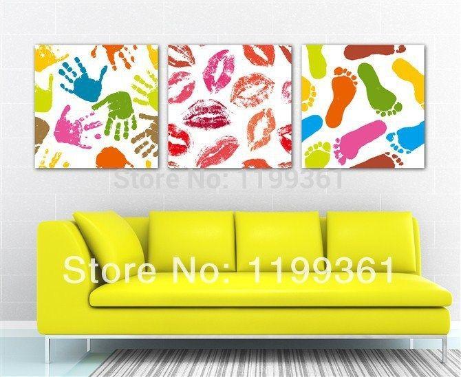 3-delige gratis verzending modern muur schilderen voetafdruk vingerafdruk lip print home decoration kunst afbeelding schilderen op canvas prints(China (Mainland))