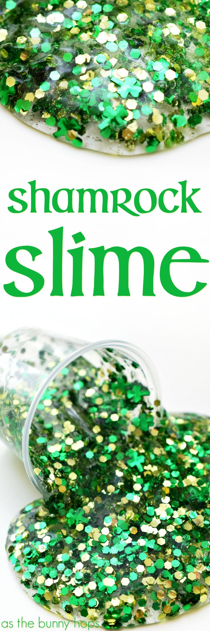 Celebrate St. Patrick's Day with a cup of colorful and fun Shamrock Slime! Get the full recipe for this colorful green and gold slime on AsTheBunnyHops.com!