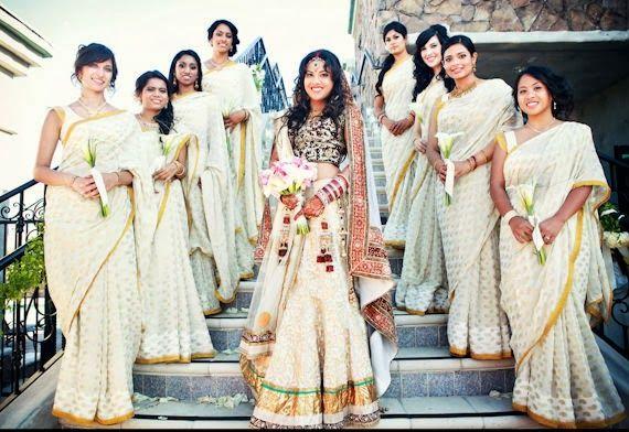 offwhite bridesmaid sarees