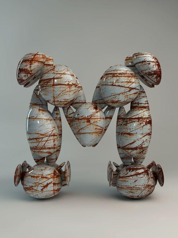 Textured Sculpture type by Txaber , via Behance