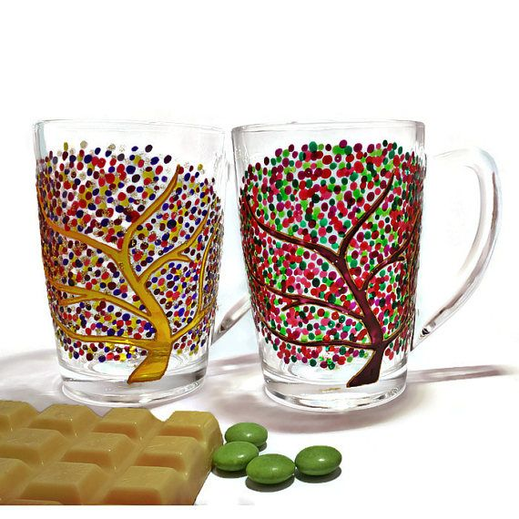 Set of 3 Tree of life glass Mugs Unique glass coffee Mug