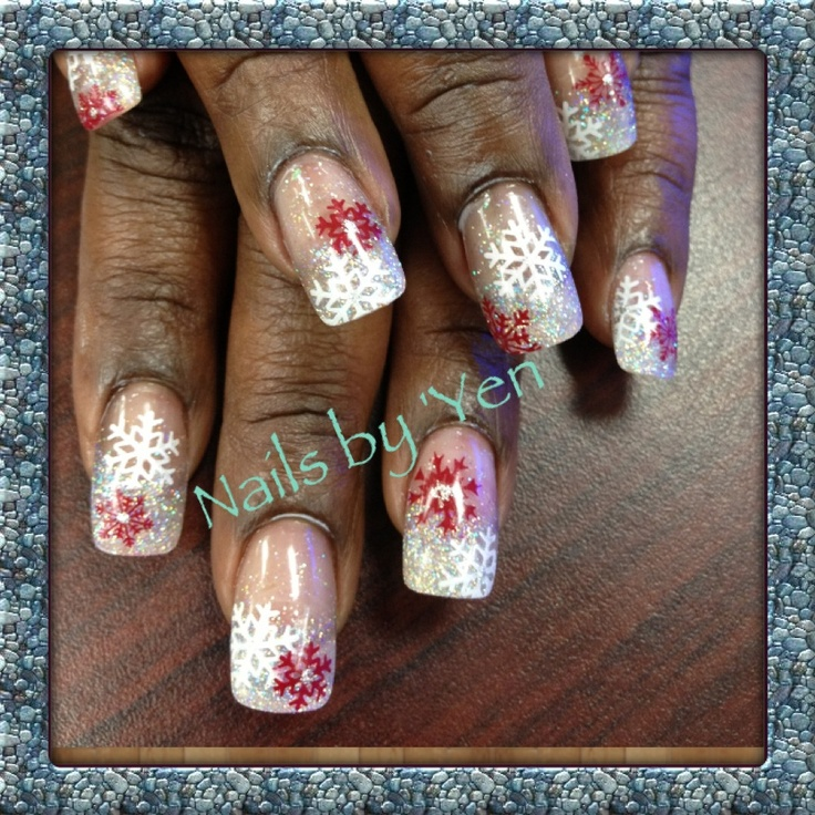 Silver acrylic fade with red and white snowflakes... Nails by Yen....