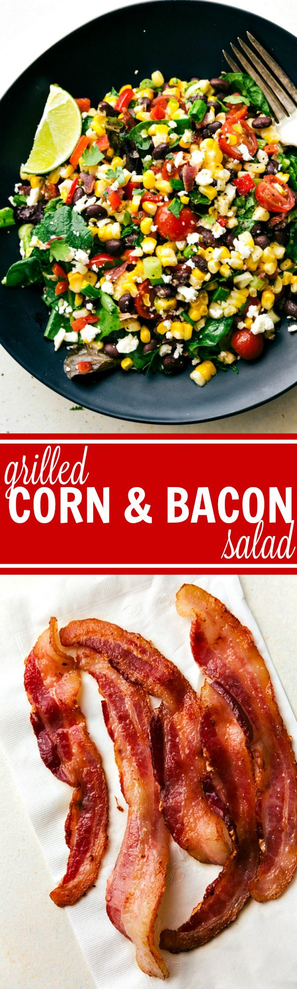 A simple grilled bacon and corn salad with lots of veggies, herbs, and feta…