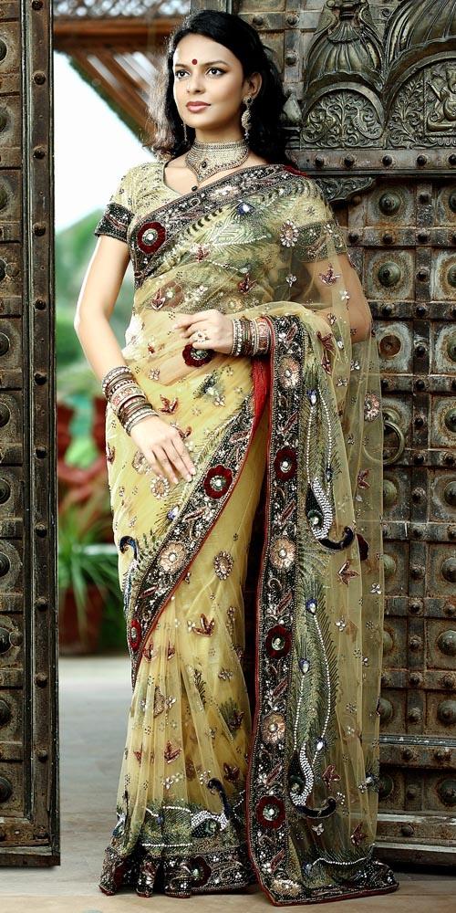 saree - peacock #fashion #beautyBeige Colors, Beige Saree, Woman, Dresses Close, Nets Saree, Dazzle Work, Golden Beige, Work Golden