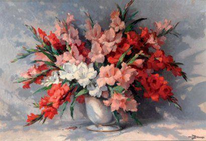 maurice decamps   Maurice DECAMPS (1892-1953) Bouquet de glaïeuls Huile sur toile ...