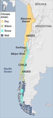 Chile has a large variety of climates. Towards the north it is hot with lots of deserts, as you go further south the temperatures get colder.