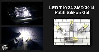 LED T10 24 SMD 3014 Putih Silikon Gel, lampu LED berkualitas lengkap dengan pelindung silikon gel.