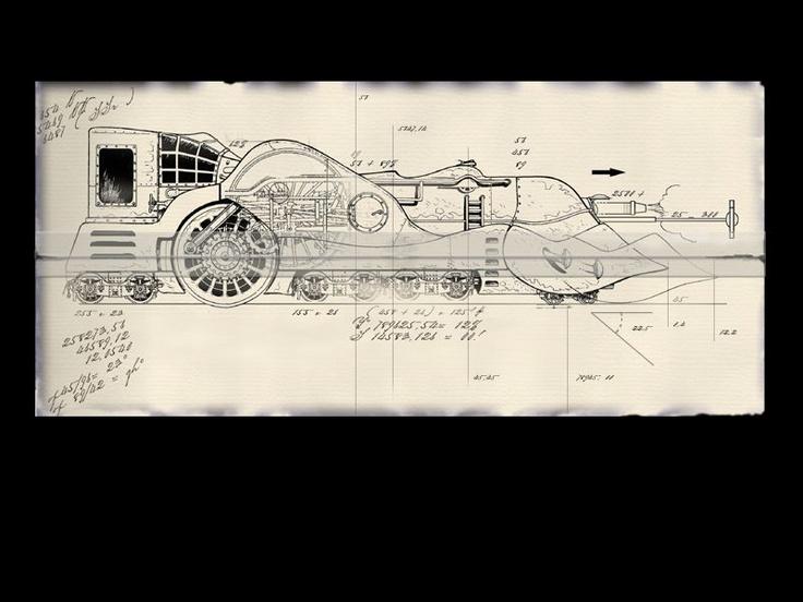 Train - Benoit Sokal's Syberia artwork (sketches / concept art / game design)