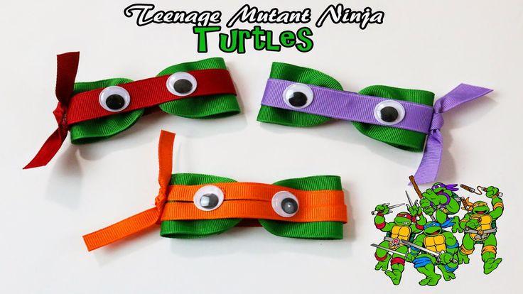 Teenage Mutant Ninja Turtles hair clip diy DIY TMNT hairbows #TMNT #ninjaturtles #teenagemutantninjaturtles #partyfavors #hairbows
