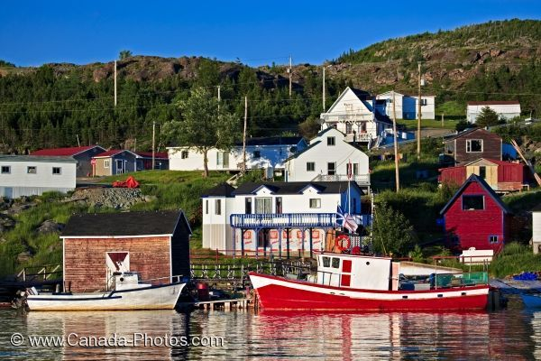 Picture of the fishing boats moored in the harbour of Fleur de Lys Harbour in the Baie Verte Peninsula of Newfoundland Labrador.