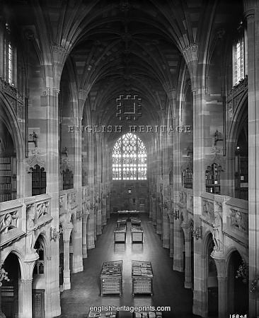 JOHN RYLANDS LIBRARY, Deansgate, Manchester. Interior, looking east from the gallery. The library was completed in 1899 to the designs of architect Basil Champneys, and was commissioned by Enriqueta Augustina Rylands in memory of her late husband. The library is a fine example of Victorian Gothic Revival architecture. It later became part of the University of Manchester. Photographed by Bedford Lemere and Co. in 1900.