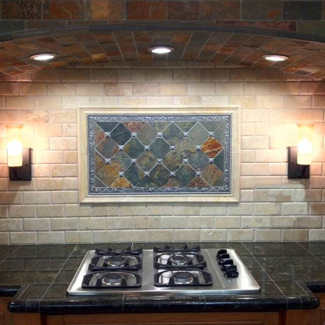traditional tile in the kitchen slate and travertine - Tile In The Kitchen