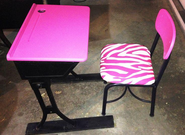 Pink zebra school desk and chair