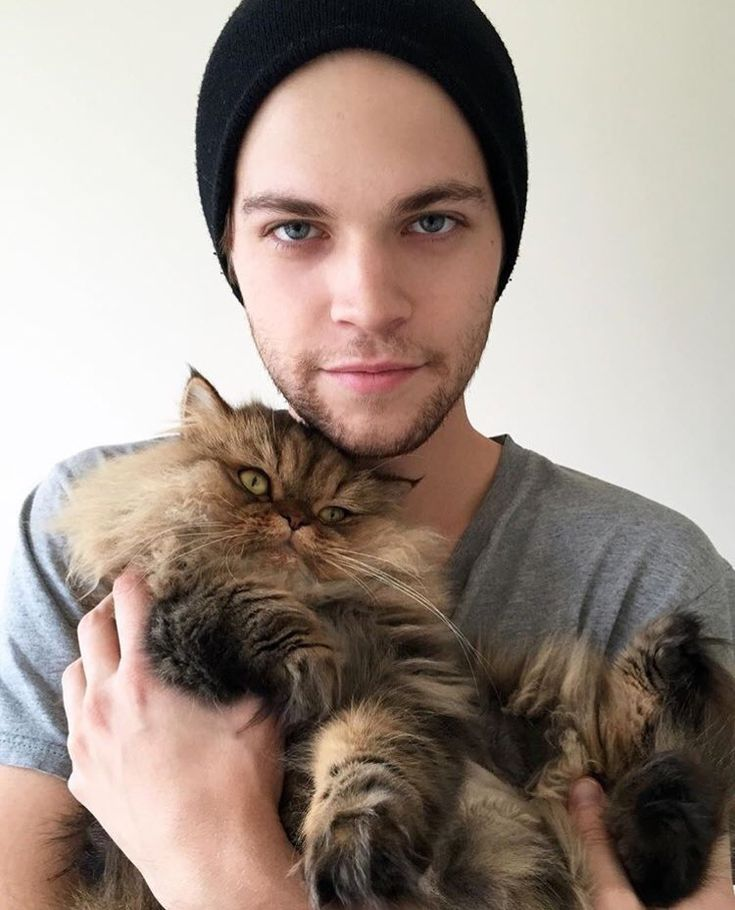 Alex Calvert with his cat Lord   Tyrion