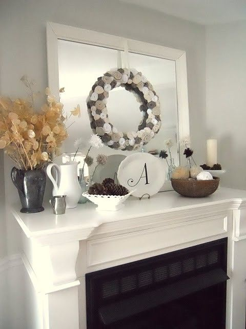 Fireplace Series 5: Mantels, Mantels, and MORE Mantels  the plate/initial idea is always a good filler