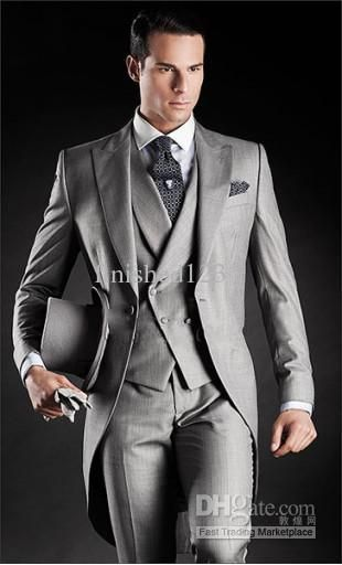 New 2014 Beautiful Light Grey Morning Suits Groom Tuxedos Suit