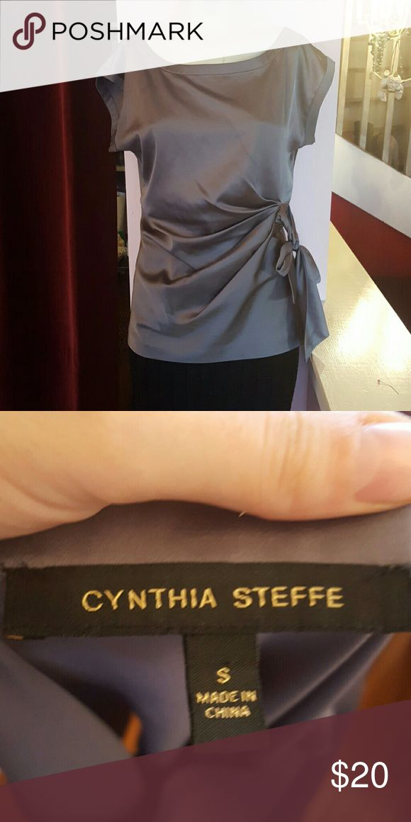Cynthia steffe gray top Cynthia steffe gray top size small Ties on the side looks great on perfect for a night out or the office 97% polyester Cynthia Steffe Tops Blouses