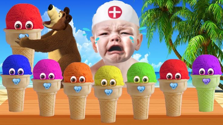 Bad Baby Crying with Ice Cream Learn Colors for Children Finger Family s...