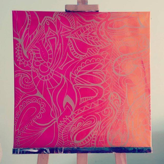Bohomaz IV #art #obraz #grafika #rysunek #wzory #fuksja #pomaranczowy #fuchsia #orange #sztaluga #ombre #graphic #orient #oriental #orientalny #india
