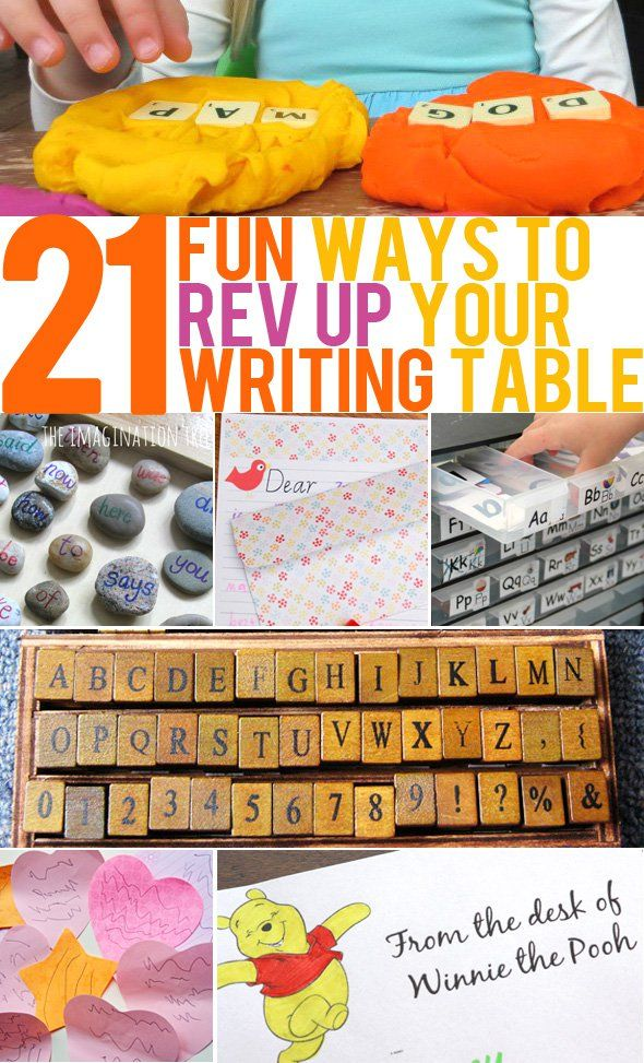 21 Ways to Inspire Interest in Your Writing Table. Great ideas for home or school.