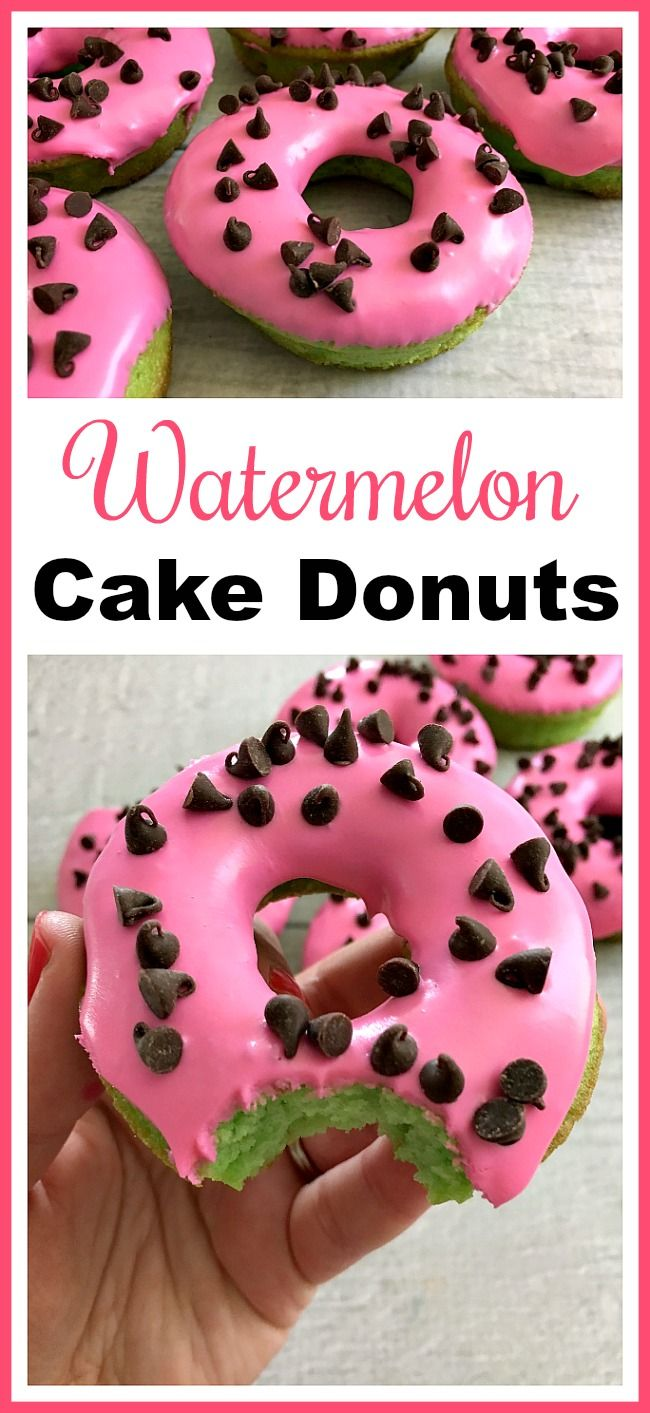 Watermelon Cake Donuts- These watermelon cake donuts are an easy to make dessert that looks so fun and summery! Use boxed cake mix to help put them together quickly! | frosting, pink, green, recipe, dessert, doughnut, baking, make your own donuts, bake donuts at home, summer