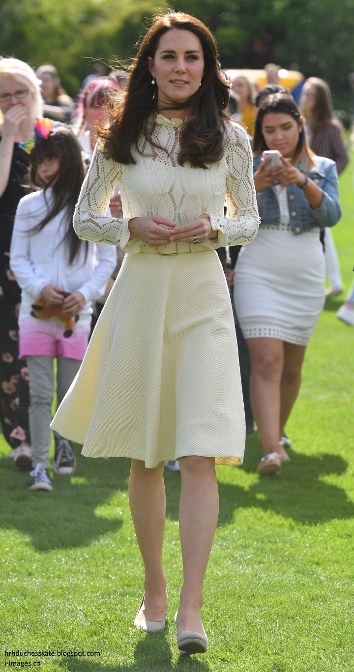 hrhduchesskate:  Party at the Palace, May 13, 2017-The Duchess of Cambridge repeated her See by Chloé dress, first worn to a children's tea party in Canada in 2016, accessorized with her Acne Studios Leather Waist Belt, Monsoon Fleur Wedges, and Annoushka Pearl Earrings