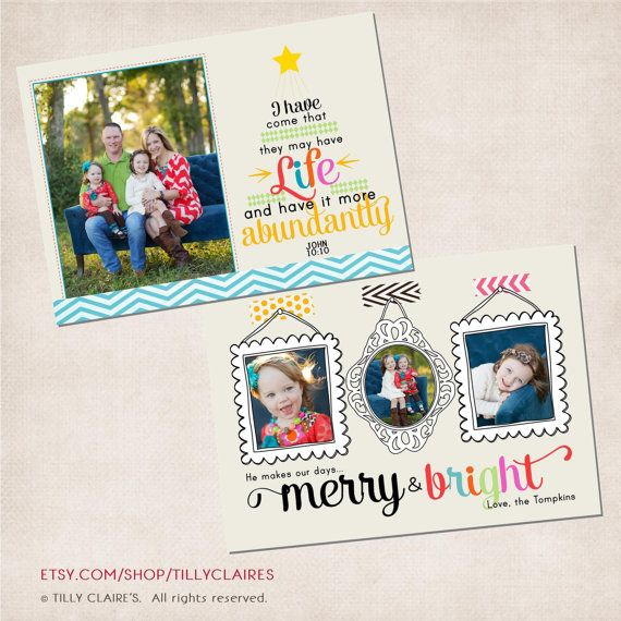 """Christmas Photo Card Template DIY with Bible Verse/Scripture  """"I have come that they may have life and have it more abundantly."""" John 10:10  -by TillyClaires"""