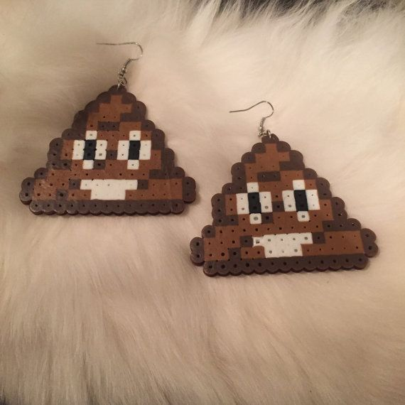 Poop Emoji Earrings Perler Beads Hama Beads Fuse Beads