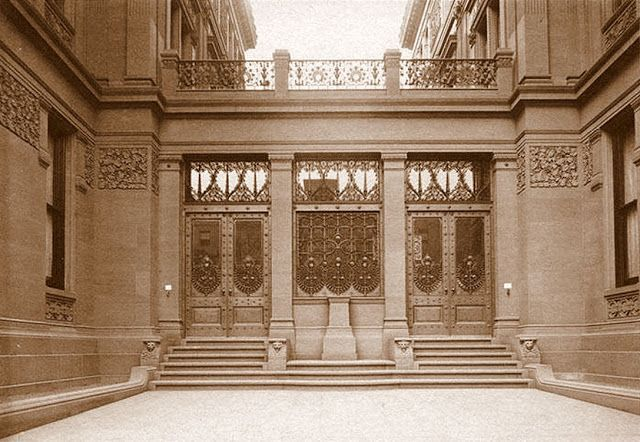 "Bronze door entrance, to the American Gilded Age - NYC mansion of, socialite William Henry Vanderbilt. It was located at, 640-642 Fifth Ave. ~  {cwl} ~ (Original image from:  ""Mr. Vanderbilt's House and Collection"", c.1883)."