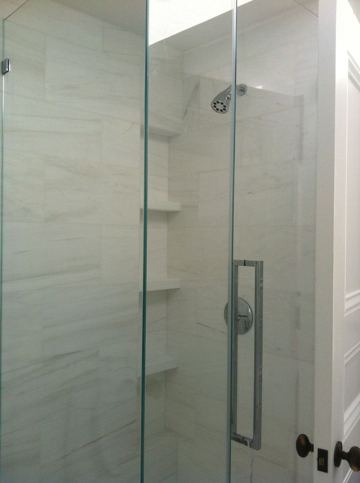 "12"" x 24"" Bianco Dolomite tile shower walls Marsh"