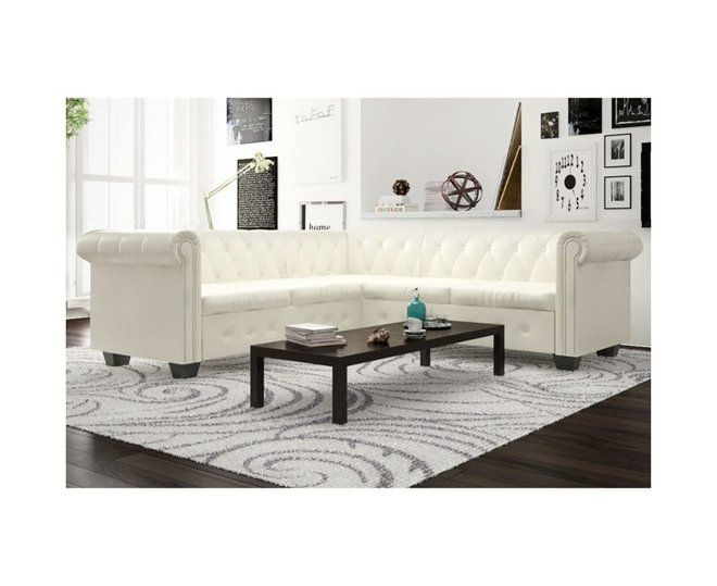 Chesterfield Corner Sofa 5-Seater Artificial Leather White