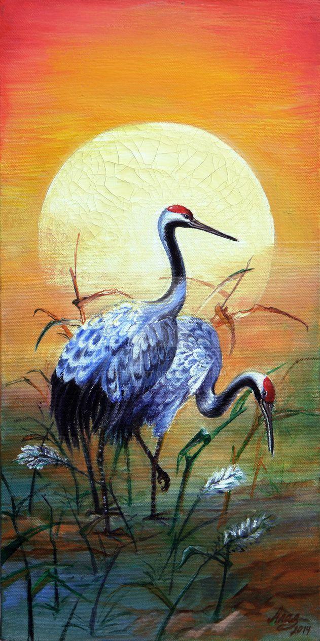 Japanese cranes by CheetahArt
