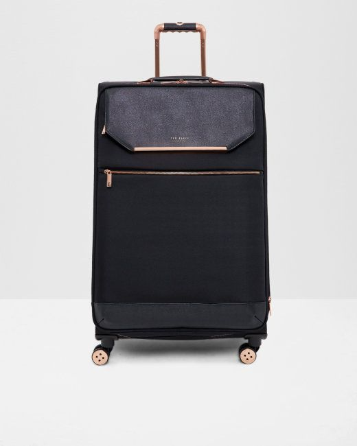 Metallic trim large suitcase - Black | Bags | Ted Baker UK