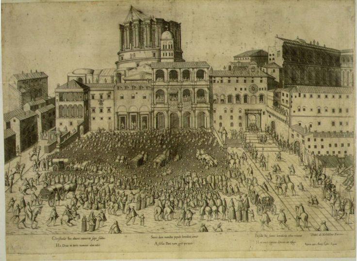 Antoine Lafréry - Bendición papal (1555) estamapa impresa por Lafery, con una vista de los palacios papales y la inacabada Basílica de San Pedro.