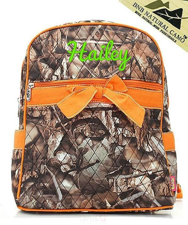 """Personalized 15"""" Quilted Backpack Bookbag Kids School Tote"""