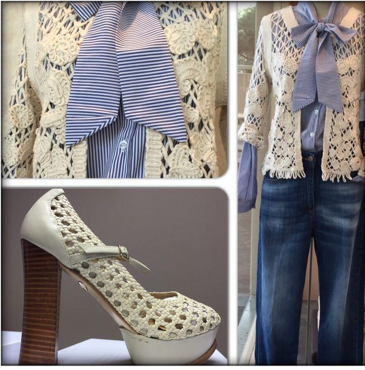 Jeans palazzo giacchino uncinetto camicia fiocco tutto in vendita presso sur reale viale gramsci