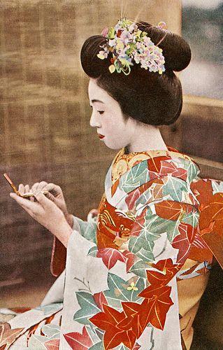 Maiko Teru checking her Make-up 1930s