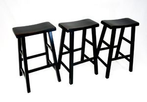 "Three Heavy Duty Saddle Seat Bar Stools Counter Stools - 29"" Black"