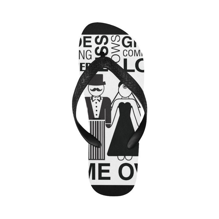 Print Flip Flops Bride Groom Game Over Print Flip Flops for Men/Women