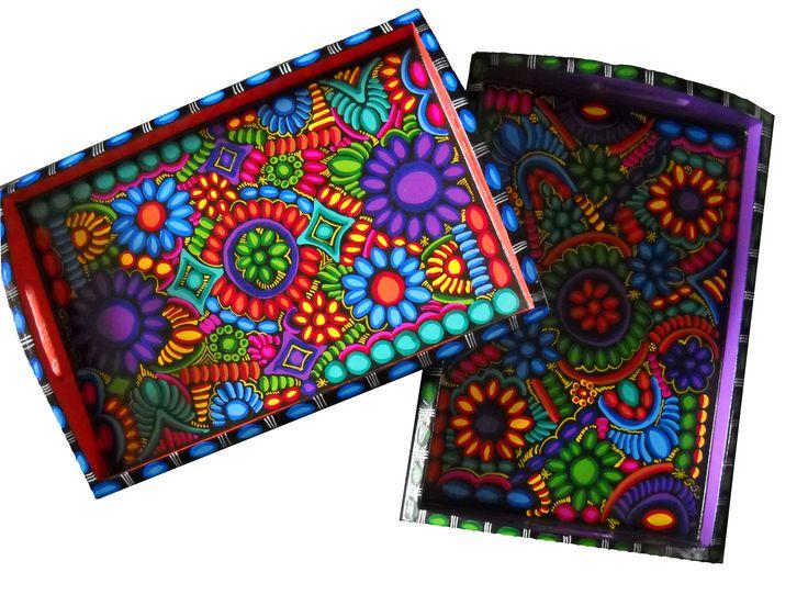 Bandejas pintadas a mano deco ideas pinterest - Cajas de madera pintadas a mano ...