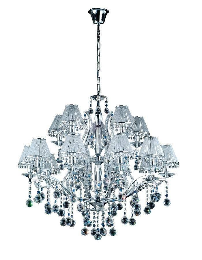 Vienna Chandelier - 15 Light  It is difficult to find the words to describe just how gorgeous the Vienna Chandelier - 15 Light is. Similar in style to our Mosman Chandelier range however here the lamps are surrounded by delicate and stylish shades. Chrome finished and dripping in high quality crystal.